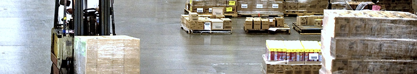 Palletised Freight being received and handled at a Transport Depot
